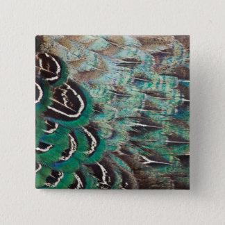 Melanistic Pheasant Feathers Close-Up 15 Cm Square Badge