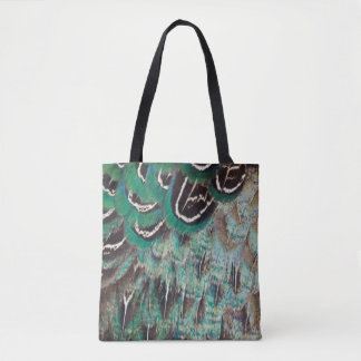 Melanistic Pheasant Feathers Close-Up Tote Bag