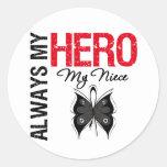 Melanoma Always My Hero My Niece Round Sticker