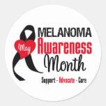 Melanoma Awareness Month Grunge Ribbon Stickers