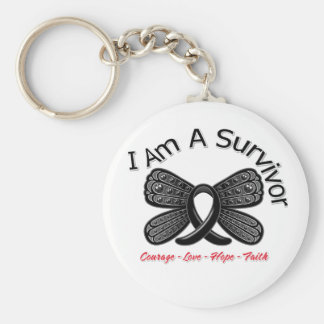Melanoma Butterfly I Am A Survivor Basic Round Button Key Ring