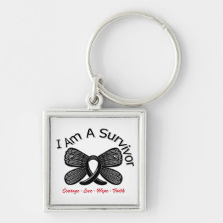 Melanoma Butterfly I Am A Survivor Silver-Colored Square Key Ring