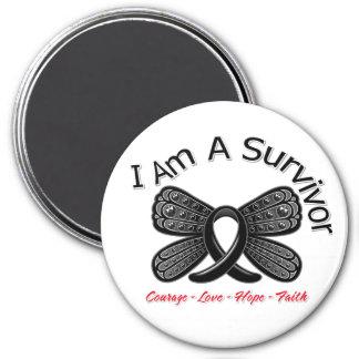 Melanoma Butterfly I Am A Survivor 7.5 Cm Round Magnet