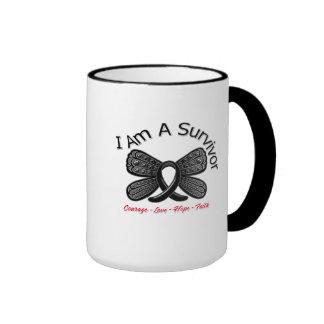 Melanoma Butterfly I Am A Survivor Ringer Mug