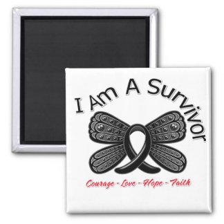 Melanoma Butterfly I Am A Survivor Square Magnet