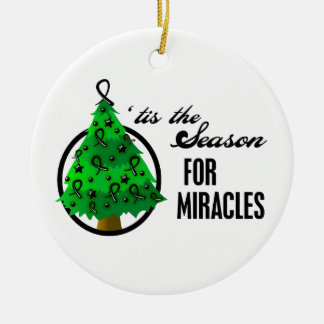 Melanoma Cancer Christmas Miracles Round Ceramic Decoration