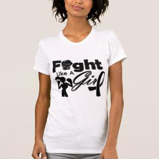 Melanoma Cancer Fight Like A Girl Silhouette T-shirt