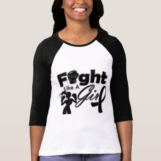 Melanoma Cancer Fight Like A Girl Silhouette Tshirts