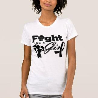 Melanoma Cancer Fight Like A Girl Silhouette T Shirt