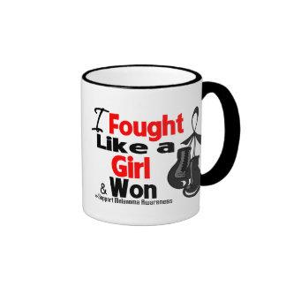 Melanoma Cancer I Fought Like a Girl and Won Coffee Mugs