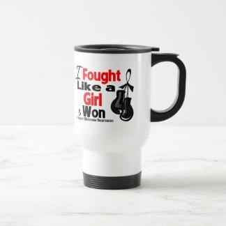 Melanoma Cancer I Fought Like a Girl and Won 15 Oz Stainless Steel Travel Mug
