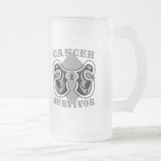 Melanoma Cancer Survivor Butterfly Frosted Glass Mug