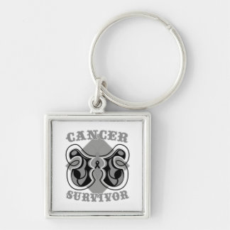 Melanoma Cancer Survivor Butterfly Silver-Colored Square Key Ring