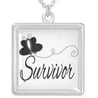Melanoma Cancer Survivor Butterfly Ribbon Necklace