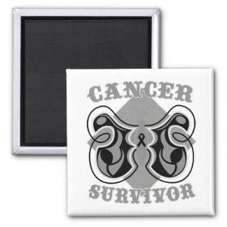 Melanoma Cancer Survivor Butterfly Square Magnet