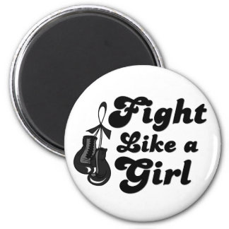 Melanoma Fight Like A Girl Motto 6 Cm Round Magnet