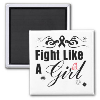 Melanoma Fight Like A Girl Ornate Magnet