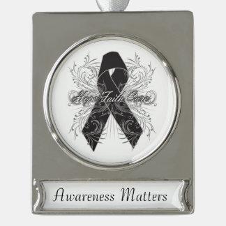 Melanoma Flourish Hope Faith Cure Silver Plated Banner Ornament