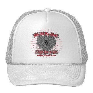 Melanoma Heart I Fight Like A Girl Trucker Hat