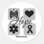 Melanoma Hope Love Inspire Awareness Round Stickers