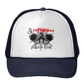Melanoma I Fight Like a Girl With Gloves Cap