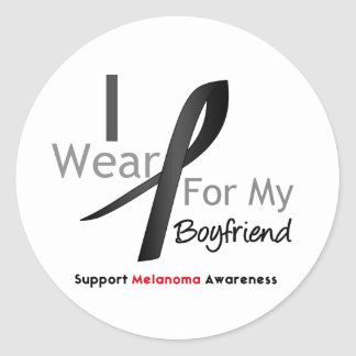 Melanoma I Wear Black For My Boyfriend Round Sticker