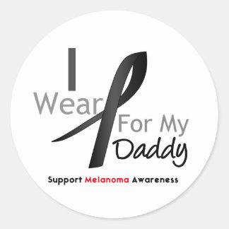 Melanoma I Wear Black For My Daddy Round Sticker