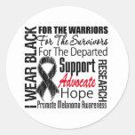 Melanoma I Wear Black Ribbon TRIBUTE Round Sticker
