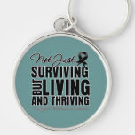 Melanoma Not Just Surviving But Living Keychain