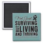 Melanoma Not Just Surviving But Living Refrigerator Magnet