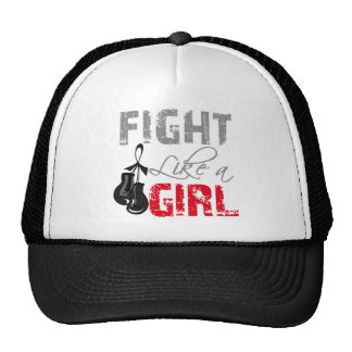 Melanoma Ribbon Gloves Fight Like a Girl Cap