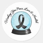 Melanoma Ribbon Merry Christmas Snowglobe Round Stickers