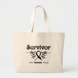 Melanoma Survivor Tribal Ribbon Tote Bag