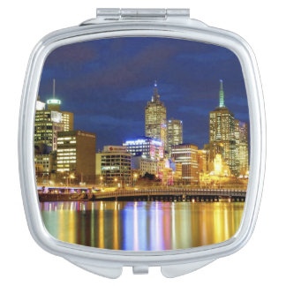 Melbourne, Australia. A nighttime view of the 2 Mirror For Makeup