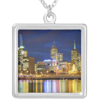 Melbourne, Australia. A nighttime view of the 2 Silver Plated Necklace