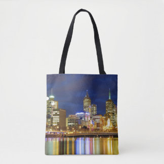 Melbourne, Australia. A nighttime view of the 2 Tote Bag