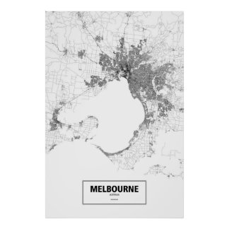 Melbourne, Australia (black on white) Poster