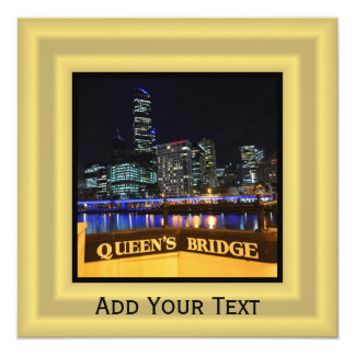 Melbourne Australia CBD Lights over Queen's Bridge 13 Cm X 13 Cm Square Invitation Card