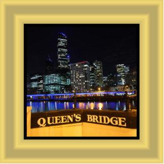 Melbourne Australia CBD Lights over Queen's Bridge Photo Sculpture Magnet