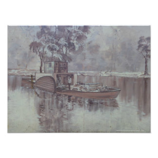 Melbourne - Barge Along The Murry River Mural Photographic Print
