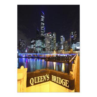 Melbourne CBD Queens Bridge City Lights Magnetic Invitations