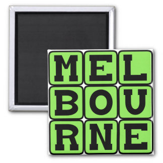 Melbourne, City in Australia Square Magnet