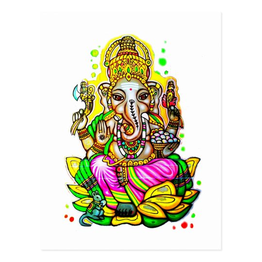 Melbourne Graffiti Street Art Ganesh Elephant Neon Postcard
