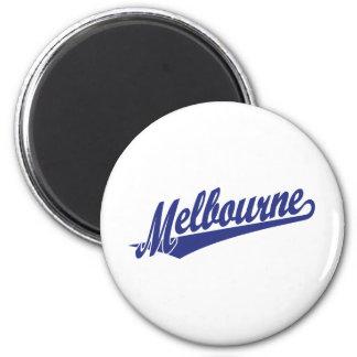 Melbourne script logo in blue refrigerator magnet