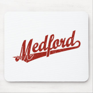 Melbourne script logo in red distressed mouse pad