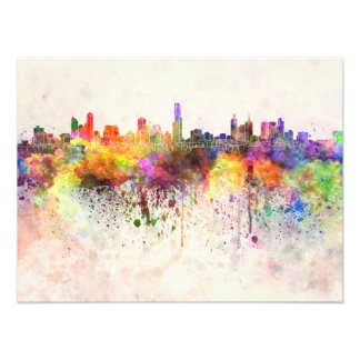 Melbourne skyline in watercolor background photo print