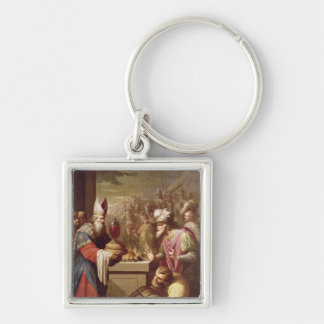 Melchizedek Offering Bread and Wine Silver-Colored Square Key Ring