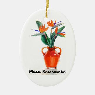 Mele Kalikimaka Bird of Paradise Oval Ornament