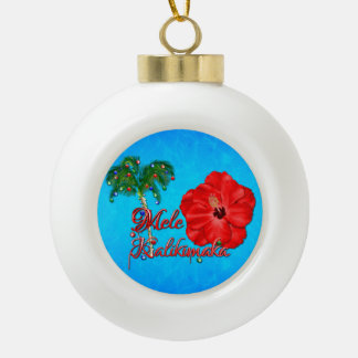 Mele Kalikimaka Ceramic Ball Christmas Ornament