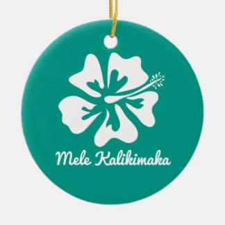 Mele Kalikimaka Hawaiian flower Christmas Holiday Round Ceramic Decoration
